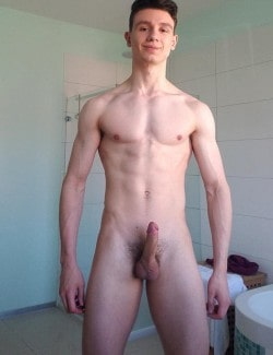 Naked boy with erection